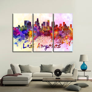 Los Angeles Watercolor Skyline Multi Panel Canvas Wall Art - City
