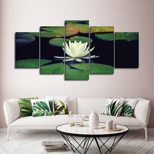 Perfect White Lotus Multi Panel Canvas Wall Art - Lotus