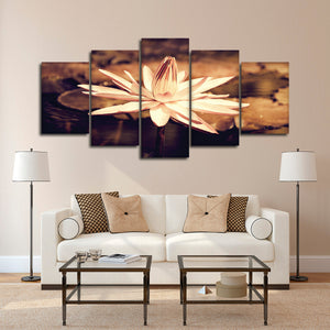Sepia Lotus Flower Multi Panel Canvas Wall Art - Lotus