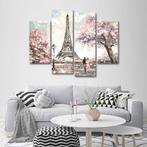 Lovers In Paris Multi Panel Canvas Wall Art - Paris