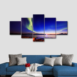 Magical Sky At North Multi Panel Canvas Wall Art - Aurora