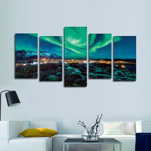 Majestic Northern Lights Village Multi Panel Canvas Wall Art - Aurora