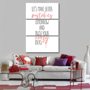Make Better Mistakes Multi Panel Canvas Wall Art - Inspiration