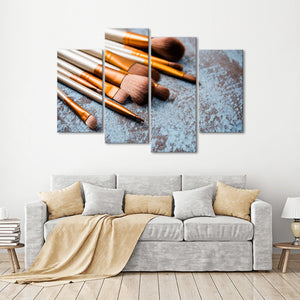 Makeup Brushes Multi Panel Canvas Wall Art - Makeup