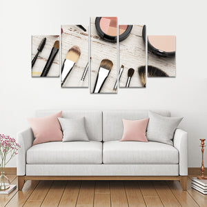Makeup Tools Multi Panel Canvas Wall Art - Makeup