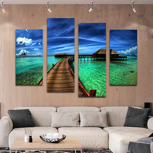 Maldives Bungalow Multi Panel Canvas Wall Art - Beach