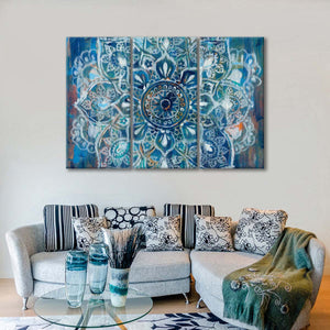 Mandala in Blue II Multi Panel Canvas Wall Art - Abstract