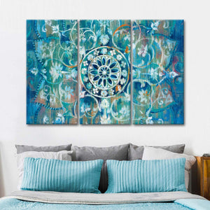 Mandala in Blue I Multi Panel Canvas Wall Art - Abstract