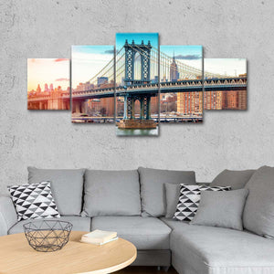 Manhattan Bridge Color Multi Panel Canvas Wall Art - Landmarks
