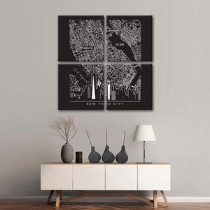 Manhattan Map Multi Panel Canvas Wall Art - World_map