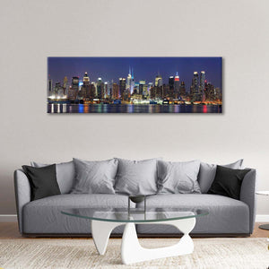 Manhattan Night Lights Multi Panel Canvas Wall Art - City