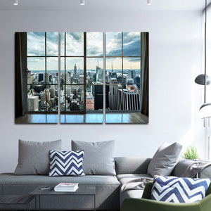 Manhattan Window Multi Panel Canvas Wall Art - City
