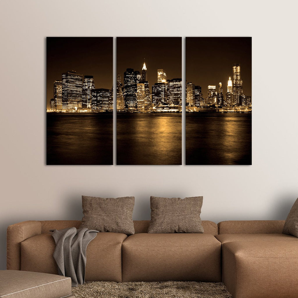manhattan multi panel canvas wall art elephantstock. Black Bedroom Furniture Sets. Home Design Ideas
