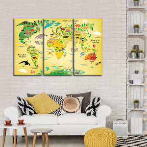 Map By Animals Multi Panel Canvas Wall Art - Kids