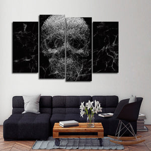 Marble Skull Multi Panel Canvas Wall Art - Skull