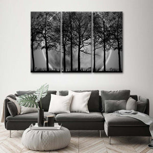 Grey Forest Multi Panel Canvas Wall Art - Gothic