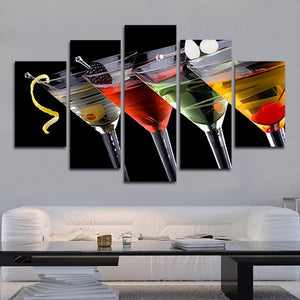 Martini Fusion Multi Panel Canvas Wall Art - Winery