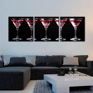 Martini Mood Multi Panel Canvas Wall Art - Winery