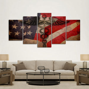 Medical Flag Multi Panel Canvas Wall Art - Medical