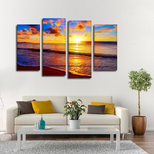 Meditative Sunset Multi Panel Canvas Wall Art - Beach