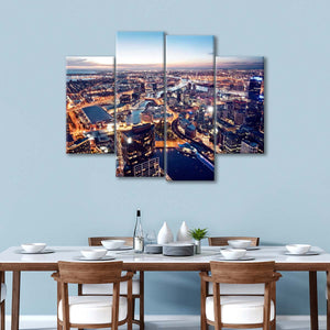 Melbourne Aerial View Multi Panel Canvas Wall Art - Aerial
