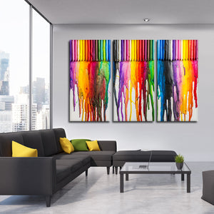 Melted Crayon Art Multi Panel Canvas Wall Art - Color