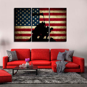 Memorial USA Flag Multi Panel Canvas Wall Art - Army