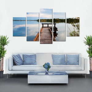 Memories At The Lake Multi Panel Canvas Wall Art - Nature