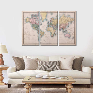 Mercators Projection World Map Multi Panel Canvas Wall Art - World_map