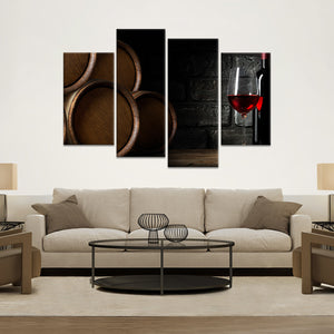 Merlot in Cellar Multi Panel Canvas Wall Art - Winery