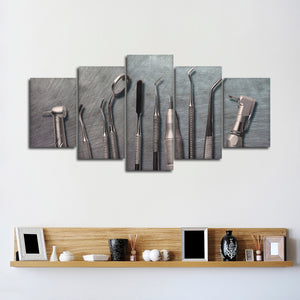 Metal Dental Tools Multi Panel Canvas Wall Art - Dental