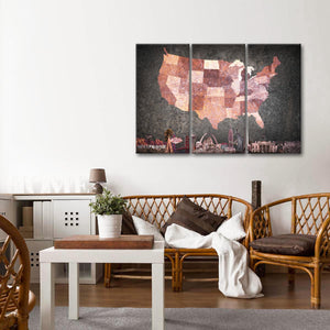 Metallic Coral USA Map Masterpiece Multi Panel Canvas Wall Art - Usa_map