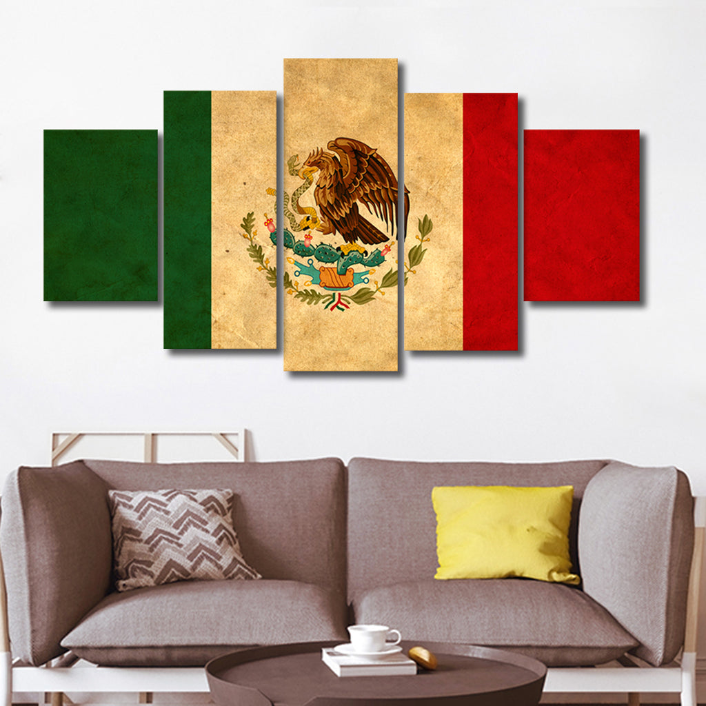 Mexican Flag Multi Panel Canvas Wall Art
