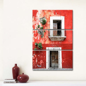Mexican Red Wall Multi Panel Canvas Wall Art - Mexico