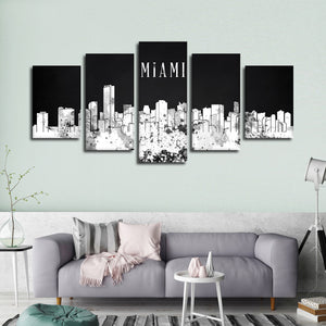 Miami Watercolor Skyline BW Multi Panel Canvas Wall Art - City