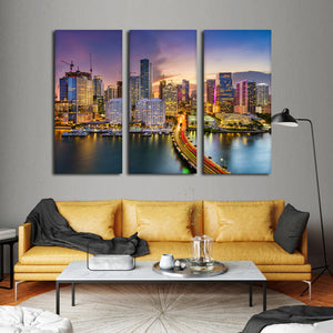 Miami Skyline Multi Panel Canvas Wall Art - City