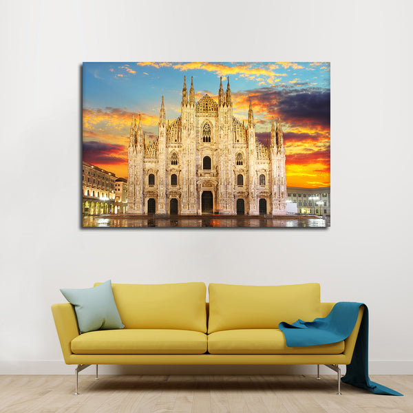 Milan Cathedral At Sunset Multi Panel Canvas Wall Art | ElephantStock
