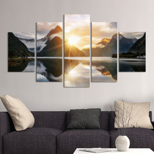 Milford Sound Multi Panel Canvas Wall Art - Nature