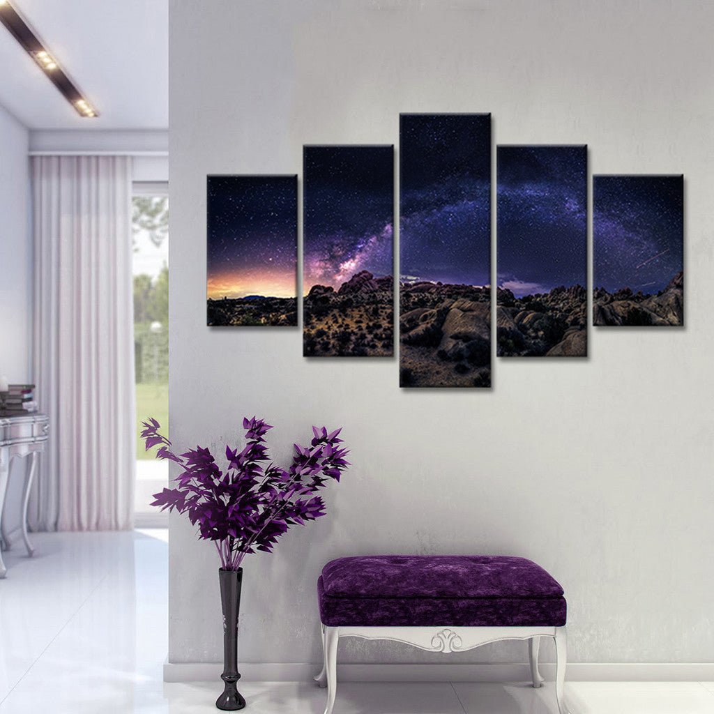 Milky way over big bend multi panel canvas wall art for Large panel wall art