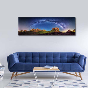 Milky Way Scenery In Sedona Multi Panel Canvas Wall Art - Sky