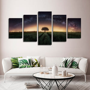Milky Way Tree Multi Panel Canvas Wall Art - Astronomy