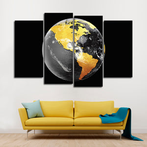Mineral Globe Multi Panel Canvas Wall Art - Astronomy