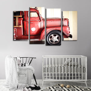 Miniature Fire Truck Multi Panel Canvas Wall Art - Firefighters