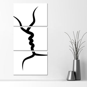Minimalist Kiss Multi Panel Canvas Wall Art - Relationship