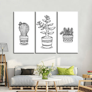 Minimalist Succulents Canvas Set Wall Art - Botanical