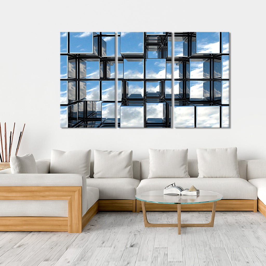 mirror cubes multi panel canvas wall art elephantstock. Black Bedroom Furniture Sets. Home Design Ideas