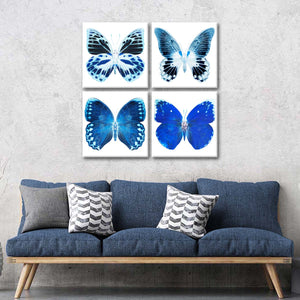 Miss Butterfly X-Ray Blue Multi Panel Canvas Wall Art - Animals