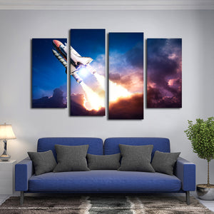 Mission To Space Multi Panel Canvas Wall Art - Astronomy