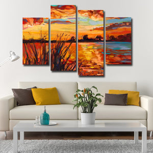 Mississippi Sunset Multi Panel Canvas Wall Art - Beach