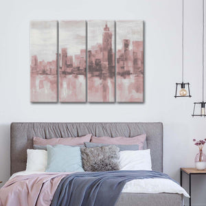 Misty Day in Manhattan Pink Gray Multi Panel Canvas Wall Art - City